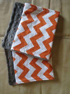 Orange and White Chevron and grey minky baby by PinkieLuLulove, $10.00