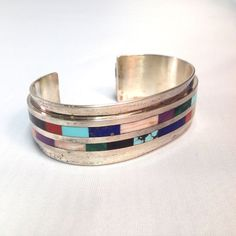 """Vernon Begaye Signed """"VAB"""" Navajo Sterling Silver Inlay Cuff Bracelet w/ Multi Natural Stones Growing up on the Navajo Reservation with"""