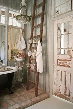Look at this stunning rustic cabin bathroom!