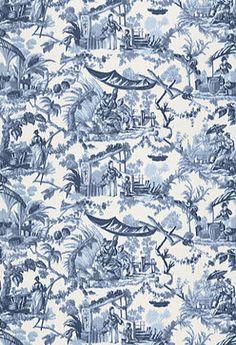 Pavillon Chinois Fabric, Lapis - asian - fabric - F. Schumacher & Co.