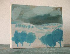 Winter landscape  tempera painting on oak by ConstructiveLaziness, €100.00