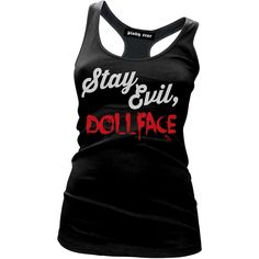 Inked Boutique - Stay Evil Doll Face Tank Top (Available in a tee or a tank!) Goth Psychobilly www.inkedboutique.com