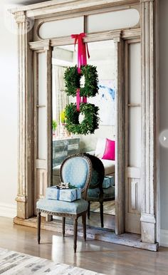 a holiday touch to a refinished and re-purposed door surround - Toronto designer Jessica Kelly's home