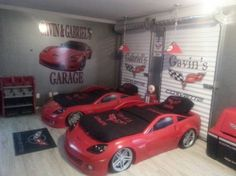 Gavin and Gabriels Corvette themed room, We decided to combine two of our bedrooms so that the boys would have plenty of room to grow into the space. I chose a corvette theme and added  real garage doors for an extra touch., Bedrooms