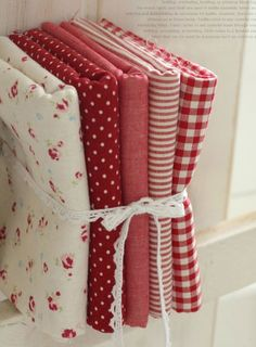 fabric - perfect for patchwork Red And White Quilts, White Fabrics, Red Cottage, Red Gingham, Chenille, Fabulous Fabrics, Fat Quarters, Shades Of Red, My Favorite Color