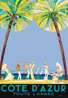 Côte d'Azur Toute l'année (French Riviera Year Round) vintage poster