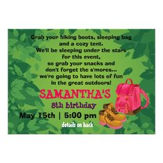 BackPack Girl's Camping Birthday Party Invitation