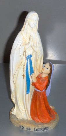 Lourdes Apparition Statue. Virgin Mary Statue, Our Lady Of Lourdes, Statues, Saints, Christmas Ornaments, Holiday Decor, Christmas Jewelry, Effigy, Christmas Decorations