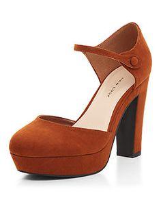 Wide Fit Rust Suedette Button Side Platform Block Heels  | New Look