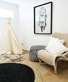 #playroom #playroomdecor #interiordesign #teepee #readingcorner #cozy #monochrome #design #designideas #australia #homedesign
