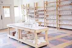 Studio Tour: Amy Hamley of Redraven Studios – Design*Sponge Pottery Workshop, Ceramic Workshop, Pottery Studio, Pottery Shop, Studio Table, Studio Setup, Studio Ideas, Studio Layout, Clay Studio