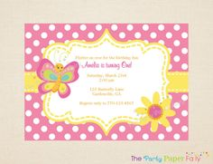 Butterfly Birthday Invitation Yellow Pink & by ThePartyPaperFairy, $21.00