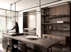 Space Floating Line-Living Space-Interior Design Flat Interior, Office Interior Design, Kitchen Interior, Kitchen Design, Space Interiors, Office Interiors, Loft Kitchen, Modern Room, Home Kitchens
