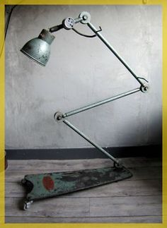 French Machine Age Industrial Factory Garage Standing Floor Lamp