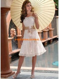 Low price for Strapless Sweetheart Embroidery Sash Satin Short Wedding Dresses on www.bridalshopmag.com