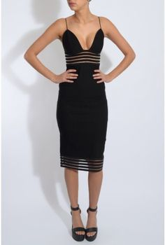 Black Allusion Detail Midi Dress   Rare London