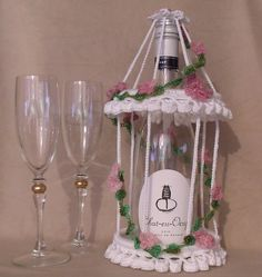 Ravelry: Champagne Birdcage Wedding Wine Bottle Decoration pattern by Thomasina Cummings Designs Wedding Wine Bottles, Champagne Bottles, Thing 1, Bridal Shower Gifts, Bird Cage, A Table, Wedding Table, Free Design, Pattern Design