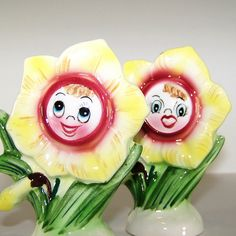 Vintage PY Anthropomorphic Daffodil Salt and Pepper Shakers