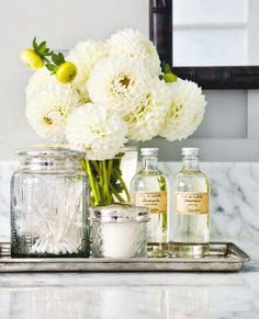Bath Decor - glass bottles, jars & vase - use cream with black label, vintage-looking, the whole look is pretty cool with tray and all