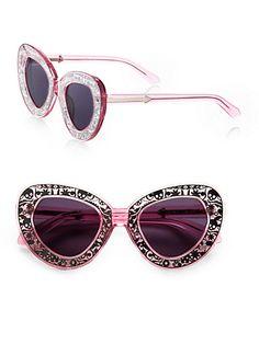Intergalactic Plastic Cat's-Eye Sunglasses by: Karen Walker