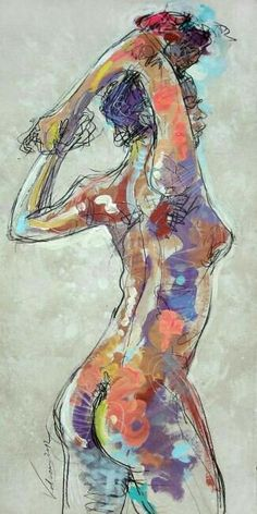Dibujo, pintura cuerpo mujer.