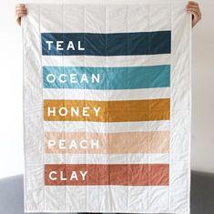 Stripe Quilt Minimal Home Decor Rainbow Quilt Modern | Etsy