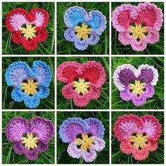 "Good Screen crochet Pansies Tips Pansies are the colourful roses with ""faces."" Any cool-weather favourite, pansies are great for both equ Crochet Granny, Crochet Motif, Crochet Yarn, Crochet Stitches, Crochet Leaves, Applique Stitches, Crochet Socks, Crochet Clothes, Appliques Au Crochet"