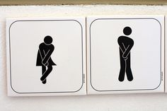 His and her restroom. via David Lebovitz