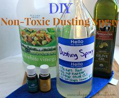 A glass spray bottle. I just like to use my empty apple cider vinegar bottles and pop in an old spray cap. 1 1/2 cups of water 1/2 cup white vinegar 2 tbsp olive oil 20 drops of lemon essential oil. I also added rosemary oil because I love that piny scent.
