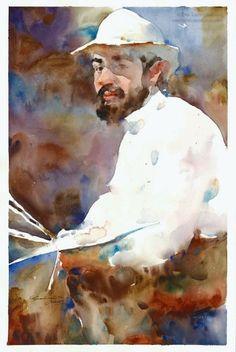 "Ewa Ludwicak, Watercolor 2015 Painting ""Henri de Toulouse-Lautrec"" Portrait of the artist based on an old photograph"