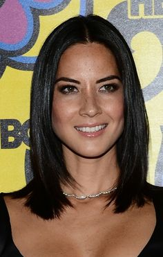 The 20 Hottest Shoulder-Length Hairstyles: Olivia Munn's Sleek, Sophisticated Cut