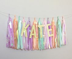Pastel Unicorn Tail Tissue Paper Tassel Garland-Baby Shower-Birthday Party-Bridal Shower-Highchair Banner by ThePrettyPaperJam on Etsy https://www.etsy.com/listing/522704199/pastel-unicorn-tail-tissue-paper-tassel