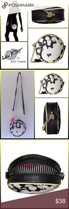 """JUST IN 🆕 'YING' DAISY CANTEEN CROSSBODY ▪️Faux Leather ▪️Zip Closure/Luv Betsey Lips Zipper Pull ▪️Crossbody Strap with Chain Detail 24"""" Strap Drop ▪️Lined Interior ▪️Yellow Trim ▪️Ying & Floral Design ▪️Measures approx. 7"""" x 7"""" x 2 1/4""""  🛍BUNDLE=SAVE  🚫TRADE🚫HOLD🚫MODEL  💯Brand Authentic  ✈️Ship Same Day--Buy By 2PM PST  🖲USE OFFER BUTTON TO NEGOTIATE   ✔️Ask Questions Not Answered In Description--Want You To Be Happy! Betsey Johnson Bags Crossbody Bags"""