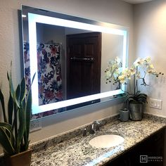 Front-Lighted LED Bathroom Vanity Mirror: 56 x 36 Rectangular Wall-Mounted Bathroom Red, Budget Bathroom, Bathroom Colors, Modern Bathroom, Bathroom Vanities, Bathroom Ideas, Mirrors And Marble, Lighted Vanity Mirror, Led Bathroom Vanity Lights