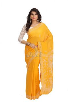 Ada Hand Embroidered Yellow Faux Georgette Lucknow Chikan Saree With Blouse- A191781 Price Rs.1,200.00 #Ada_Chikan #lucknow embroidery sarees #georgette saree #ada chikan lucknow #lucknow embroidered saree #lucknow chikan georgette sarees #lucknow chikan dresses online #seva chikan lucknow online shopping #chicken material saree #chicken saree #lucknow sarees online
