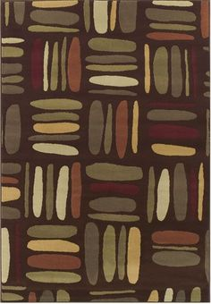 Contemporary patchwork design featuring an array of fun, free-form ovals in red-brown and beige. This eclectic rug is meant to complete and pull together any bedroom or living room.   Carlisle Squares Chocolate Rug cort.com