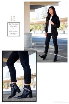 menswear details+ fiminine blouse