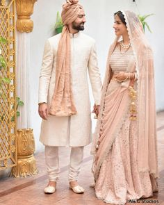 Colour coordinated couple outfit ideas, bridal outfit ideas, groom outfit i Couple Wedding Dress, Wedding Outfits For Groom, Indian Wedding Couple, Wedding Attire, Wedding Couples, Wedding Ideas, Groom Wedding Dress, Sherwani For Men Wedding, Wedding Dresses Men Indian
