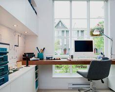 Dominion modern home office, Vancouver, Portico Design Group. Corner, Window desk.