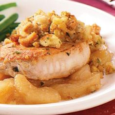 Pork Chops with Apples and Stuffing - going to try it with fresh cinnamon apples instead of the canned