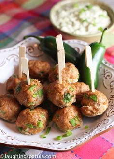 These Southwest Turkey Meatballs with Creamy Avocado Dip are the perfect appetizer! Healthy and easy to make appetizer for your next party! Meatball Recipes, Turkey Recipes, Beef Recipes, Cooking Recipes, Recipies, Creamy Avocado Sauce, Avocado Dip, Avocado Cream, Easy To Make Appetizers