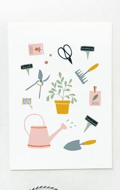 Postcard gardening, card garden, vegetable garden illustration, gardening gift for her, retirement card, hipster card, kitchen garden print