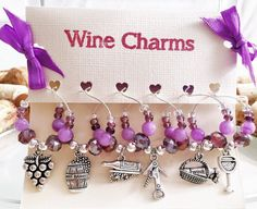 Purple Wine Glass Charms  Set of 6 Wine Gift by LasmasCreations