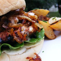 "Kickin' Turkey Burger with Caramelized Onions and Spicy Sweet Mayo I "" The carmelized onions and spicy sweet mayo really took this turkey burger over the top!"""