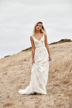 Beatrice is a sheath beaded wedding dress with a v-neck and open back and A-line skirt. Could Beatrice be 'the dress' for you? Try it on at a KWH boutique! Beaded Wedding Gowns, Wedding Dresses 2018, Stunning Wedding Dresses, White Wedding Dresses, Bridal Dresses, Elegant Gowns, Dress Wedding, Karen Willis Holmes, Wedding Dress Necklines