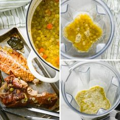 This easy green pea soup is made with dried peas and a smoked turkey wing for a smoky, thick homemade soup that's healthy too. Use a dutch oven to soak and cook the whole peas. Carrots, celery and onion add more flavor and you'll love the crispy croutons. A family meal favorite. #greenpeasoup #peasoup Green Pea Soup, Green Peas, Smoked Turkey Wings, Easy Homemade Soups, Dry Beans Recipe, Dried Beans, Bean Recipes, Dutch Oven, Celery