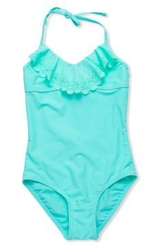 Free shipping and returns on Gossip Girl Laser Cut One-Piece Swimsuit (Big Girls) at Nordstrom.com. A scalloped, lacy flounce embellishes the neckline of this splash-ready swimsuit done in a fresh, summery hue.