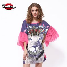 >> Click to Buy << 7mang 2017 summer women cute novelty pink animal lion printing straight loose dress half flare mesh sleeve dress #Affiliate