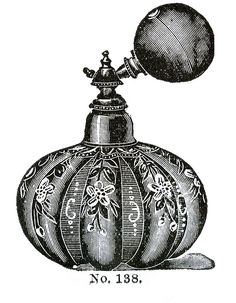 Victorian Clip Art - 3 Perfume Bottles with Atomizers