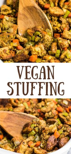 The BEST Ever Vegan Stuffing Recipe - Build Your Bite AMAZING vegan stuffing, seriously, I will never make another stuffing recipe again! Vegans and non vegans alike will be begging for seconds! Vegan Thanksgiving Dinner, Stuffing Recipes For Thanksgiving, Holiday Recipes, Thanksgiving Sides, Thanksgiving Desserts, Christmas Desserts, Cake Vegan, Vegetarian Recipes, Healthy Recipes
